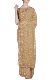 Resham embroidered floral saree & unstitched blouse