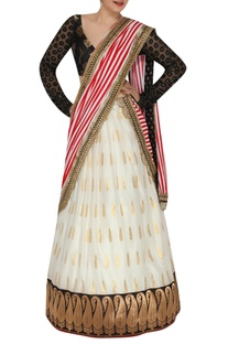 Foil printed lehenga with embroidered blouse & dupatta