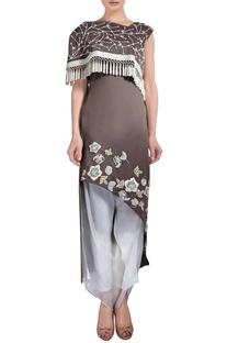 Mocha brown asymmetric kurta & white pants