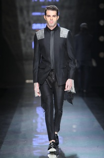 Black straight fitted trousers