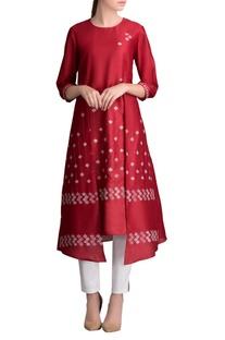 Red printed kurta with pants