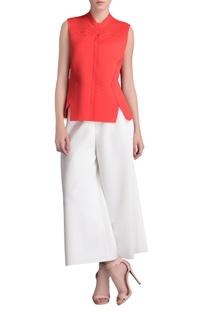 Coral orange cutwork waistcoat