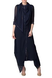 Navy blue kurta with pants & dupatta