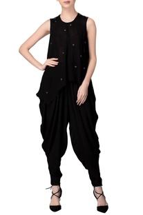 Black sleeveless mirror work tunic