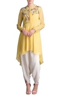Lime floral embroidered long shirt
