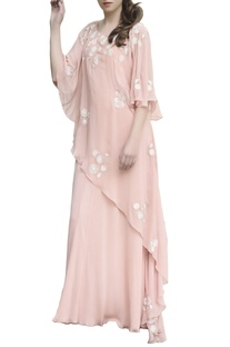 Blush pink embroidered maxi dress