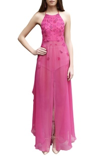 Hot pink embroidered halter maxi dress