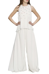 Ivory floral embroidered jumpsuit