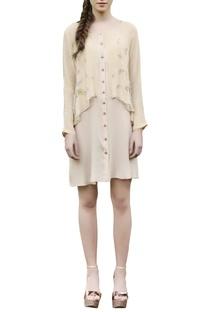 Beige embroidered short dress