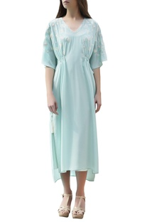 Aqua blue embroidered kaftan dress