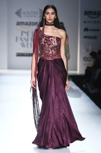 Burgundy one shoulder embroidered gown