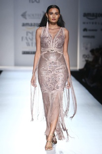 Grey embellished gown with fringes
