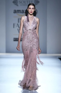 Smokey pink gown with applique work