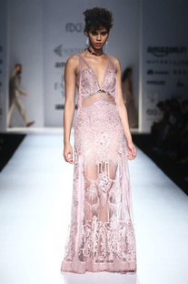 Dusky pink gown with embellishments