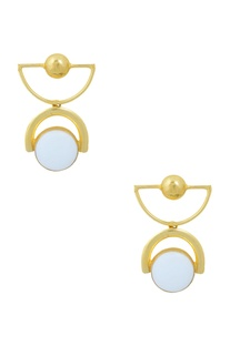 Gold finish drop earrings with stone