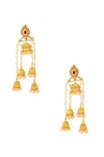 Gold finish drop jhumkas earrings