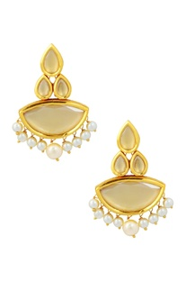 Gold finish drop earrings