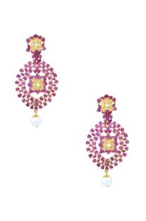 Gold finish purple drop earrings