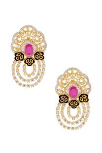Gold finish layered pearls & stones set