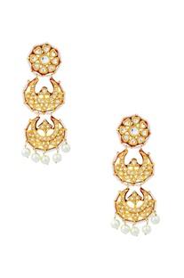 Gold finish chaand drop earrings