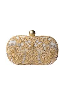 Gold & white ombre zardozi clutch