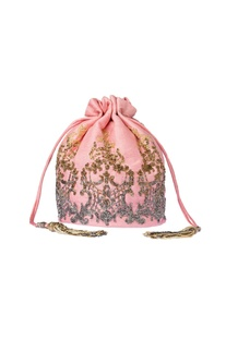 Blush pink embroidered clutch