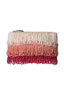 Blush, peach & red beaded pouch