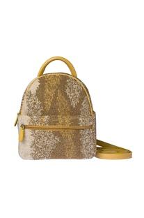 Gold beaded mini backpack
