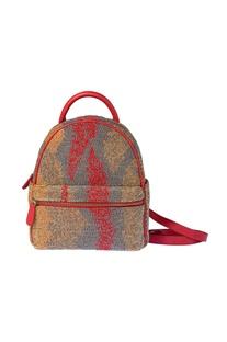 Red beadwork mini backpack