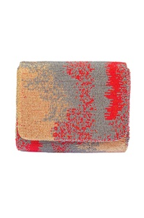 Crimson red embroidered clutch