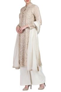 Beige embroidered kurta set