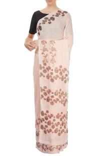 Blush pink sari with block print