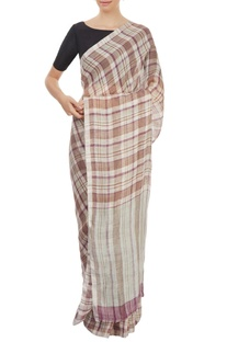 Khaki & purple plaid sari