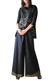 Black high low embroidered tunic