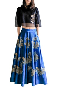 Turquoise applique skirt with black crop top