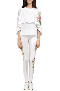 White embroidered cape top