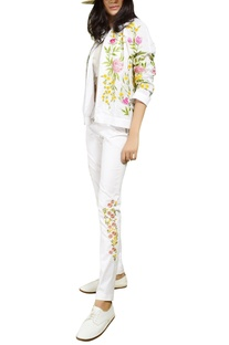White floral embroidered pants
