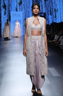Grey embellished tulip pants with sherwani & bustier