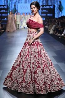 Deep red bead embroidery lehenga & blouse