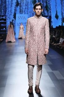Rose pink embroidered sherwani set