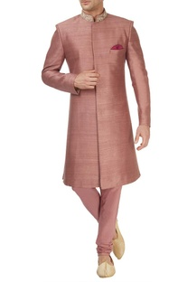 Burnt rose pink sherwani & churidar