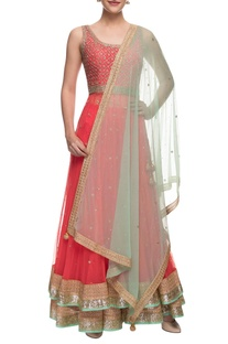 Coral red & blue embellished anarkali set