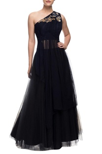 Navy blue one shoulder gown with zari embroidery