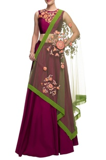 Plum embroidered crop top and skirt with green dupatta