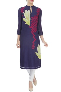 Indigo kurta with threadwork motifs