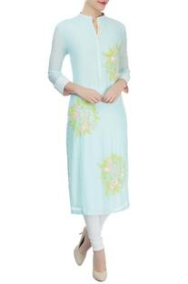Mint blue floral thread & sequin work kurta