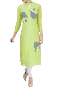 Yellow kurta with thread work and sequin embroidery
