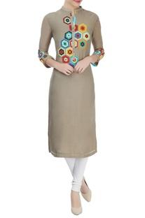 Grey kurta with multi-color applique work