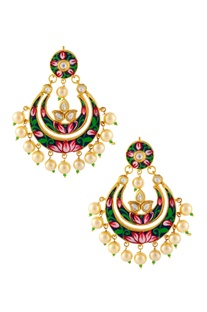 Gold finish pearl earrings with floral paint details