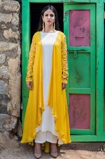 Mustard yellow cape with kurta & palazzo